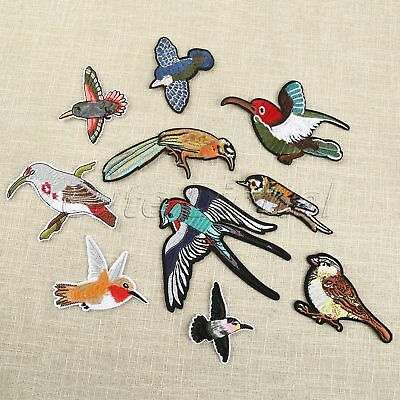 Colorful Birds Sewing Iron On Patches Embroidered Clothes Applique Badge 10pcs