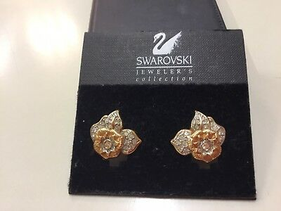 Swarovski Clip On Flower Earrings On Original Card £25.00
