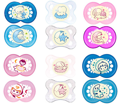 MAM Night Glow I Love Daddy Baby Soother Dummy Pacifier Teat Nipple 0-12m+ 1-2Pk