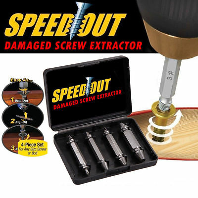 4Pcs Broken Bolt Damaged Screw Remover Extractor Drill Bit Easy Out Stud Reverse