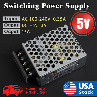 Mean Well RS-15-5 Enclosed Switching 5 Volt 3 Amp AC/DC Power Supply 5V 3A 15W