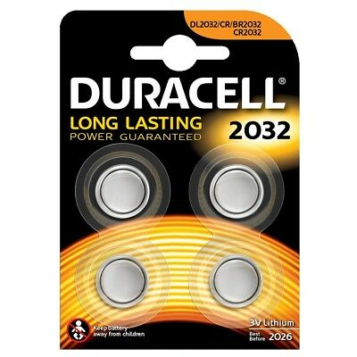 4 x Duracell CR2032 3V Lithium Coin Cell Battery 2032 button DL2032  NEW