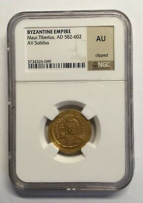 582-602AD Byzantine Empire Maur. Tiberius, AV Solidus NGC Ancients AU #