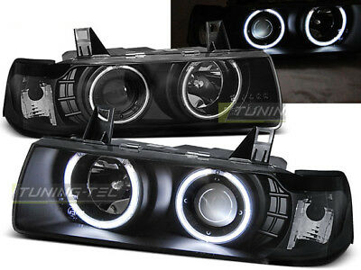 Coppia di Fari Anteriori per BMW E36 Serie 3 1990-1999 S C T Angel Eyes Neri IT
