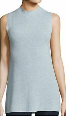 295d0f4605c Eileen Fisher India Sky Sleeveless Sleek Tencel Merino Knit Mock Neck Top S