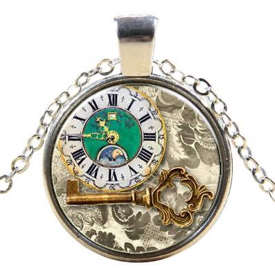 Antique Clock Gothic Steampunk Necklace Pendant Victorian Vintage Jewellery UK