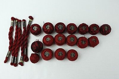 Lot of Anchor Perle Pearl Cotton Thread for Embroidery Needlepoint Maroon Red