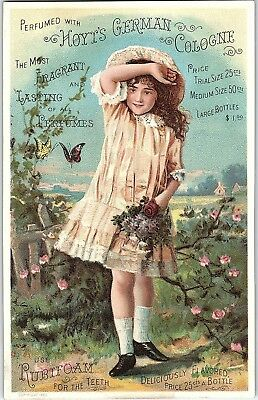 1880's Lovely Girl Hoyt's German Cologne Victorian Trade Card &G