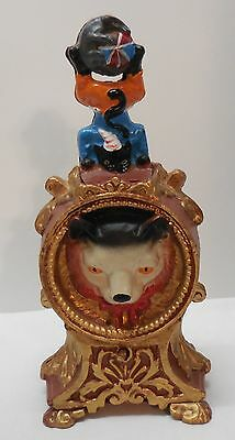 Bank Wolf Face Cat Juggling Dog and Ball Turns Over To Mouse Cast Iron Vintage