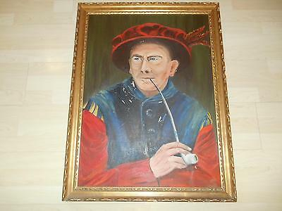 Old Vtg 1967 BEEFEATER OIL PAINTING on CANVAS BOARD Artist Signed Krafcheck