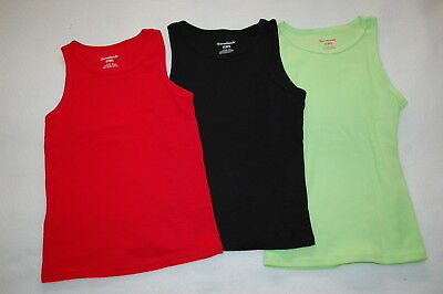 f5d041d8a Toddler Girls 3 LOT RIBBED TANK TOPS Solid Colors RED BLACK LIME GREEN Size  5T
