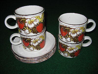 4 sets Midwinter Stonehenge wild Strawberry mug/cup saucer made in England