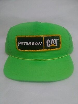 55bbff9569a Vintage 80 s Peterson Caterpillar CAT Trucker Snapback Hat Neon Green