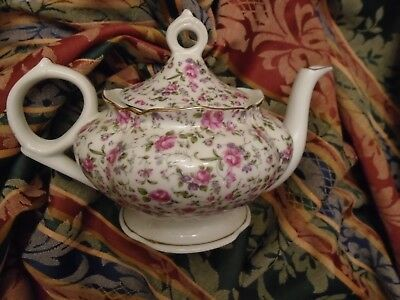 LEFTON Teapot Roses Floral Heavy Gold Gilt Trim  Made in JAPAN Vintage