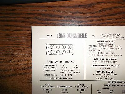 1966 Oldsmobile EIGHT Series Models High Compression 425 CI V8 Tune Up Chart