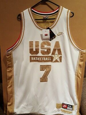brand new 046be 23a65 NEW AUTHENTIC NIKE Olympic Dream Team USA Gold #7 Larry Bird Jersey Sz 2XL  WHITE
