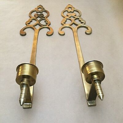 "Vintage Pair Of 21"" Solid Brass Candle Holder Wall Sconces Home Decoration"
