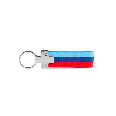 M-Colored Stripe Nylon Band Inner Leather M Keychain BMW Key Ring For Bimmers