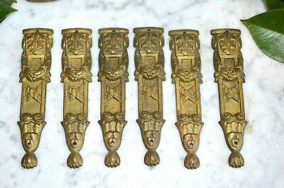 One Pair Antique French Small Decorative Bronze Pediments Mounts 3 Pair Avail