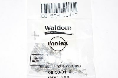 Pack of 100 NEW Molex, LLC 08-50-0114 CONN 22-30AWG CRIMP TIN