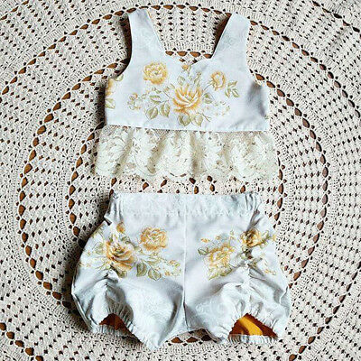 2PCS Toddler Kids Baby Girl Summer Clothes Floral Tops+Pants Shorts Outfits