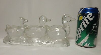 """Vintage Large GLASS CANDY CONTAINER 9"""" ~ 3 DUCK FAMILY  ~ Still PERFECT"""