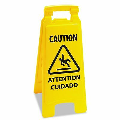 Wet Floor Sign Caution Safety 2 Sided Yellow Plastic - Folds Flat w/ Handle