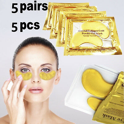 5Pairs 24k Gold Eye Collagen Anti Aging Wrinkle Under Crystal Gel Patch Mask
