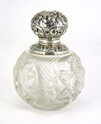 Antique sterling silver topped crystal perfume bottle 1904 England