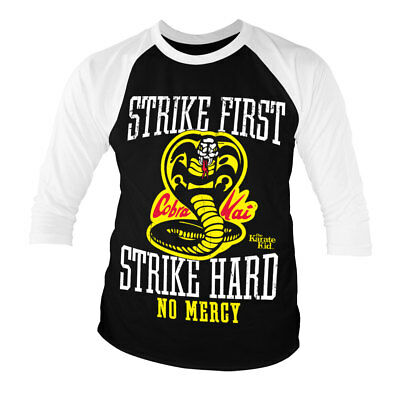 Officially Licensed Karate Kid - Cobra Kai No Mercy 3/4 Sleeve Baseball T-Shirt