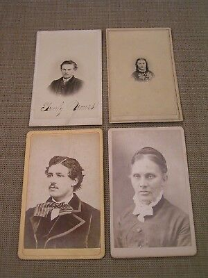 4 1860's-1870's Antique CDV Bucyrus Ohio OH. Portrait Photographs Photo Lot