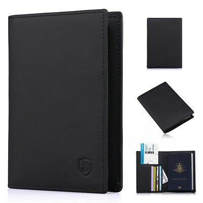 100% Leather Passport Cover Holder Case Organizer ID Card Travel Protector Slim