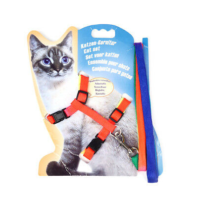 Cat Kitten Puppy Soft Nylon Adjustable Harness Leash with Clip Pet Walking Lead