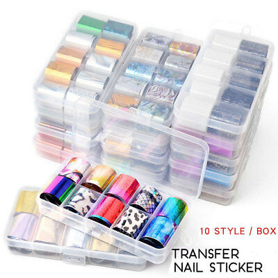 10Pcs Holographic Nail Foils Manicure Starry Nail Art Transfer Sticker Set DIY