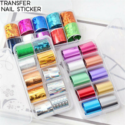 10Pcs/box Starry Nail Art Transfer Sticker Holographic Nail Foils  Set