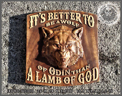 """Hand Made Wood Carved Picture """"wolf Of Odin"""""""