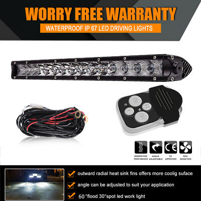 17inch Ultra-thin LED Work Light Bar Combo Beam Offroad Driving Light+Wiring Kit