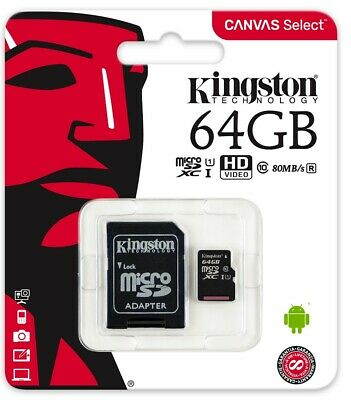 64GB MicroSD Class 10 Speicherkarte Micro SDXC Kingston SD Adapter max 80MB lese