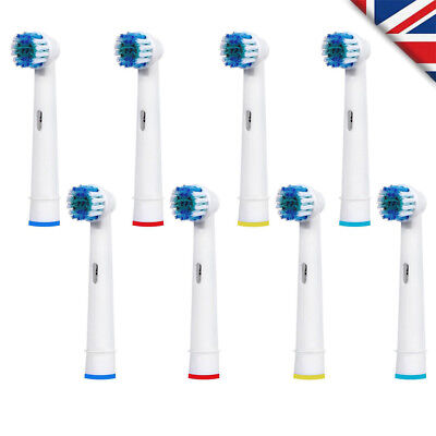 8 Professional Brush Heads Compatible With Oral B 3D Vitality White New Genkent