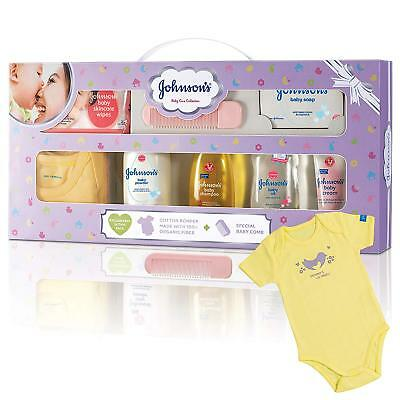 Johnson's Baby Care Collection Baby Gift Set with Organic Cotton Baby Dress (8 P