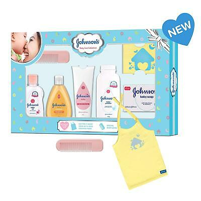 Johnson's Baby Care Collection Baby Gift Set with Organic Cotton Baby T-Shirt (7