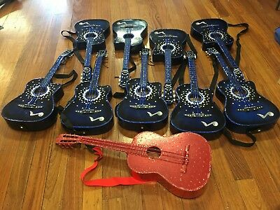10 guitars- blue/red decorated with glitter/sequins
