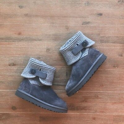 371afc51b9c UGG SHAINA GREY Gray Button Suede Knitted Cuff Tall / Ankle Boots Size 6  Womens
