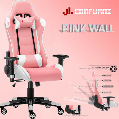 💗JL Comfurni Gaming Office Chair Race Swivel Computer Desk Chair Pink Valentine