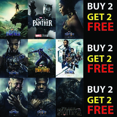 BLACK PANTHER MOVIE MARVEL COMICS SUPERHERO FILM POSTER COVERS A4/A3 300gsm