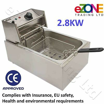 Takeaway Electric Deep Fat Fryer 2.8kW Stainless Steel Countertop Chip Fish Pan