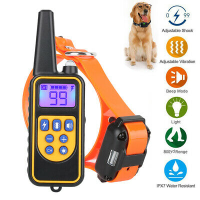 Dog Shock Training Collar Rechargeable Remote Control Waterproof LCD 875 Yards