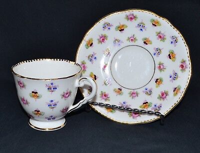 Royal Stafford Rose Pansy Forget Me Not Tea Cup and Saucer