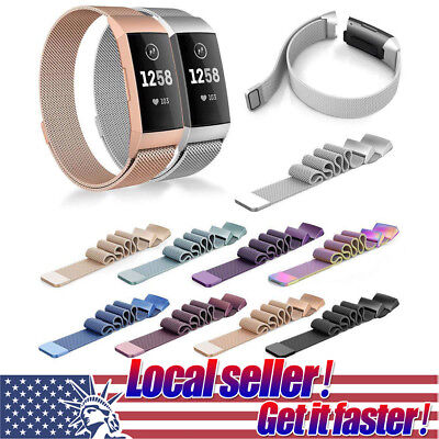 0be283892a9c US For Fitbit Charge 3 Replace Milanese Loop Straps Stainless Steel Wrist  Band g