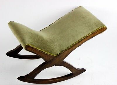 Antique Beech Upholstered Rocking Footstool - FREE Shipping [PL4857]